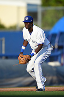 Dunedin Blue Jays  third baseman Gustavo Pierre (17) during a game against the Brevard County Manatees on April 11, 2014 at Florida Auto Exchange Stadium in Dunedin, Florida.  Brevard County defeated Dunedin 5-2.  (Mike Janes/Four Seam Images)