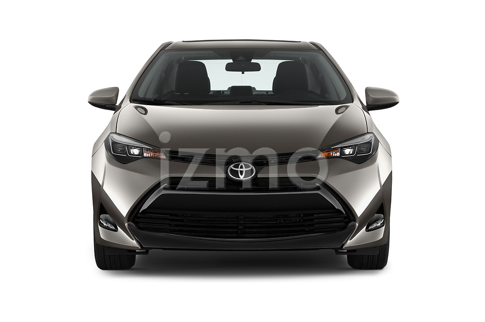 Car photography straight front view of a 2017 Toyota Corolla XLE Premium 4 Door Sedan