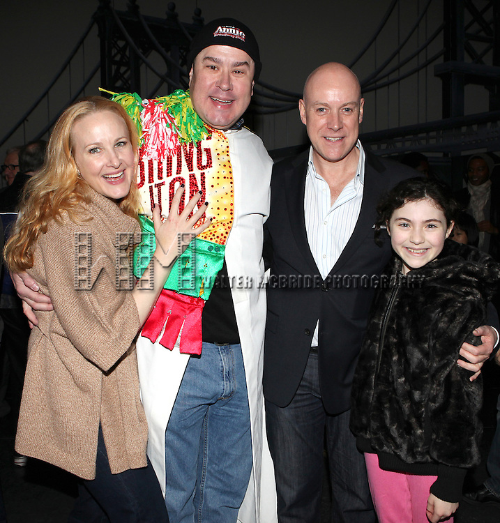 Katie Finneran, Merwin Foard, Anthony Warlow & Lilla Crawford attending the Broadway Opening Night Performance  Gypsy Robe Ceremony celebrating Merwin Foard recipient  for 'Annie' at the Palace Theatre in New York City on 11/08/2012