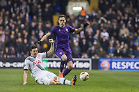 Kevin Wimmer of Tottenham Hotspur tackles Nikola Kalinic of Fiorentina during the UEFA Europa League 2nd leg match between Tottenham Hotspur and Fiorentina at White Hart Lane, London, England on 25 February 2016. Photo by Andy Rowland / Prime Media images.