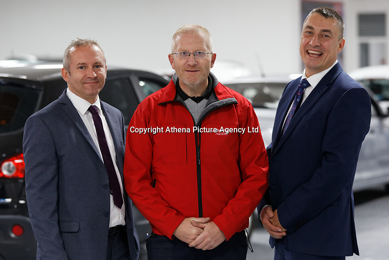 Pictured: (L-R) Kevin Hall, field sales, Mike Kelly, vehicle disposal executive and Lee Mabbutt, head of vehicles.<br /> Re: John Pye online auction site in Port Talbot, south Wales. UK.