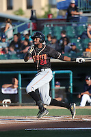 Wes Rogers (24) of the Modesto Nuts bats against the Lancaster JetHawks at The Hanger on June 7, 2016 in Lancaster, California. Lancaster defeated Modesto, 3-2. (Larry Goren/Four Seam Images)