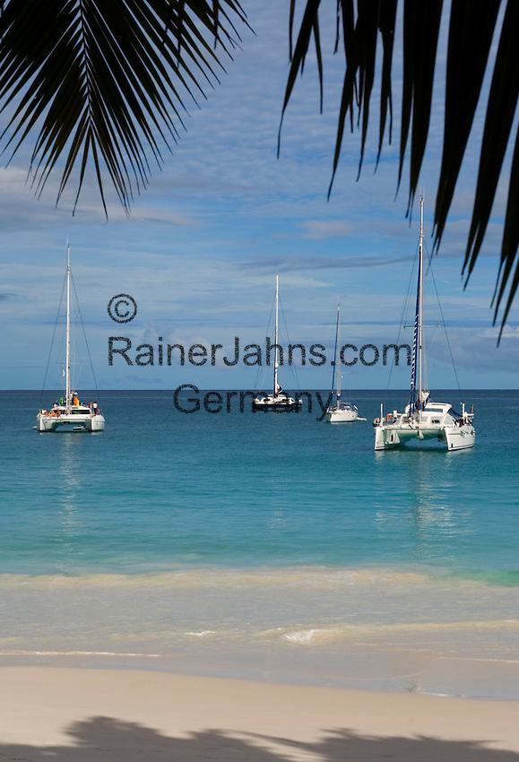 Seychelles, Island Praslin, Anse Lazio: sailing boats at Praslin's most beautiful beach
