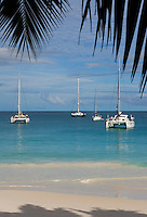 Seychelles, Island Praslin, Anse Lazio: sailing boats at Praslin's most beautiful beach