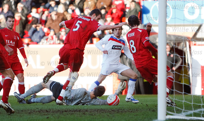 Nacho Novo prods the ball past sub keeper Bertrand Bossu but can't find the net