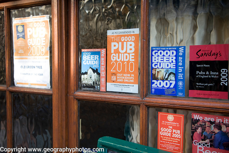 Good beer guide pub notices outside the Old Green Tree pub, Bath, England