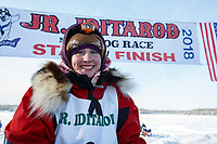 Emma Shawcroft portrait at the finish of the 2018 Junior Iditarod in Willow, Alaska. Sunday February 25, 2018<br /> <br /> Photo by Jeff Schultz/SchultzPhoto.com  (C) 2018  ALL RIGHTS RESERVED