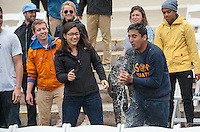 Graduating seniors rehearse for the upcoming commencement, May 15, 2015 at the Remsen Bird Hillside Theater. They also participated in the traditional water balloon fight with the President's Office. (Photo by Marc Campos, Occidental College Photographer)