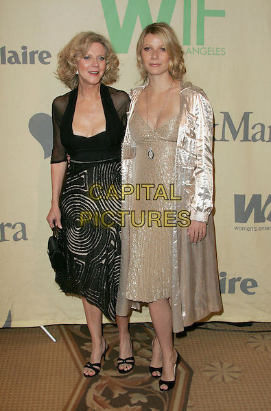 "BLYTHE DANNER & GWYNETH PALTROW.Attend ""A Family Affair: Women in Film celebrates The Paltrow Family"" 2004 Crystal & Lucy Awards held at The Westin Century Plaza Hotel in Century City, California.June 18, 2004.full length, full-length, mother, daughter, family, black dress, beige, cream jacket, coat, dress.www.capitalpictures.com.sales@capitalpictures.com.©Debbie VanStory/Capital Pictures.."