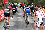 Alberto Contador (ESP) Trek-Segafredo and Julian Alaphilippe (FRA) Quick-Step Floors on the brutal climb of Los Machucos during Stage 17 of the 2017 La Vuelta, running 180.5km from Villadiego to Los Machucos. Monumento Vaca Pasiega, Spain. 6th September 2017.<br /> Picture: Unipublic/&copy;photogomezsport   Cyclefile<br /> <br /> <br /> All photos usage must carry mandatory copyright credit (&copy; Cyclefile   Unipublic/&copy;photogomezsport)