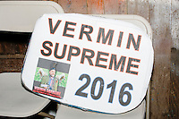 A campaign sign rests on folding chairs before satirical presidential candidate Vermin Supreme speaks at Ten Rod Farm in Rochester, New Hampshire. Supreme's platform advocates a pony-based economy, using zombies to solve the energy crisis, and other outlandish ideas. Supreme has been on the New Hampshire primary ballot in 2008 and 2012, though he began running for president in 1992. Vermin Supreme will be on the Democratic party ballot in the 2016 New Hampshire primary.