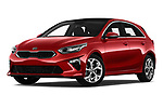 Stock pictures of low aggressive front three quarter view of 2019 KIA Ceed More 5 Door Hatchback Low Aggressive