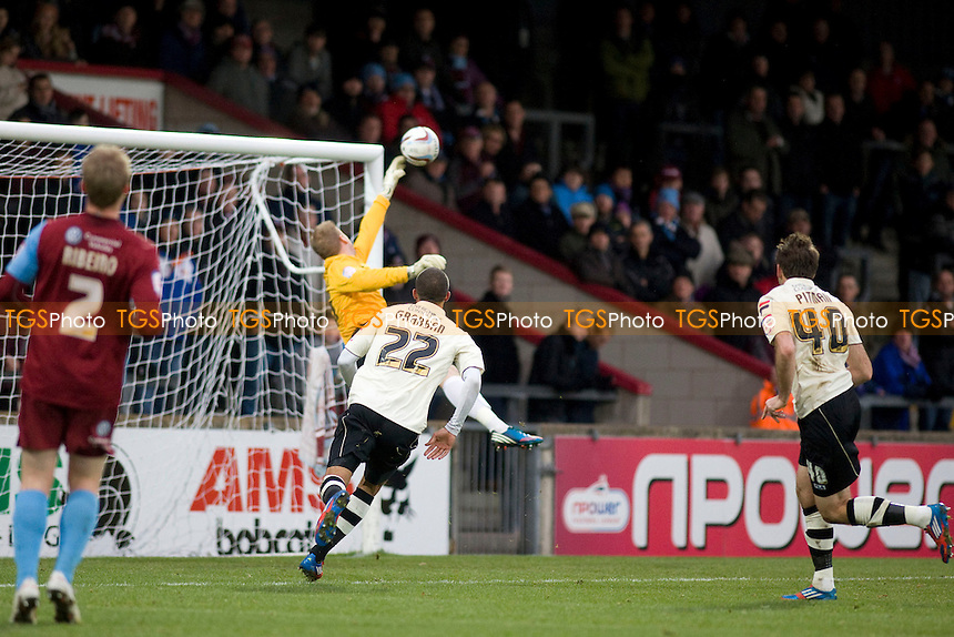 Steve Mildenhall (GK:Scunthorpe Utd) clears.... - Scunthorpe United vs AFC Bournemouth - NPower League One Football at Glanford Park - 08/12/12 - MANDATORY CREDIT: Mark Hodsman/TGSPHOTO - Self billing applies where appropriate - 0845 094 6026 - contact@tgsphoto.co.uk - NO UNPAID USE.