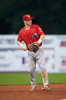 Williamsport Crosscutters shortstop Dylan Bosheers (17) throws to first during a game against the Batavia Muckdogs on August 29, 2015 at Dwyer Stadium in Batavia, New York.  Williamsport defeated Batavia 7-3.  (Mike Janes/Four Seam Images)