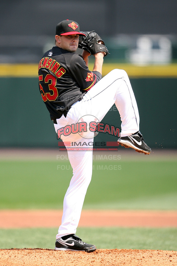 April 26, 2009:  Starting Pitcher Brian Duensing (53) of the Rochester Red Wings, International League Class-AAA affiliate of the Minnesota Twins, during a game at the Frontier Field in Rochester, NY.  Photo by:  Mike Janes/Four Seam Images