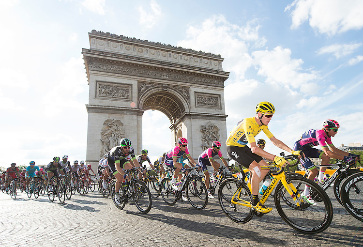 Picture by Alex Broadway/ASO/SWpix.com - 24/07/16 - Cycling - Tour de France 2016 - Stage Twenty-One - Chantilly to Paris Champs-&Eacute;lys&eacute;es - Chris Froome of Great Britain and Team Sky rides past the Arc de Triomphe. Dan McLay<br /> NOTE : FOR EDITORIAL USE ONLY. COMMERCIAL ENQUIRIES IN THE FIRST INSTANCE TO simon@swpix.com THIS IS A COPYRIGHT PICTURE OF ASO. A MANDATORY CREDIT IS REQUIRED WHEN USED WITH NO EXCEPTIONS to ASO/ALEX BROADWAY