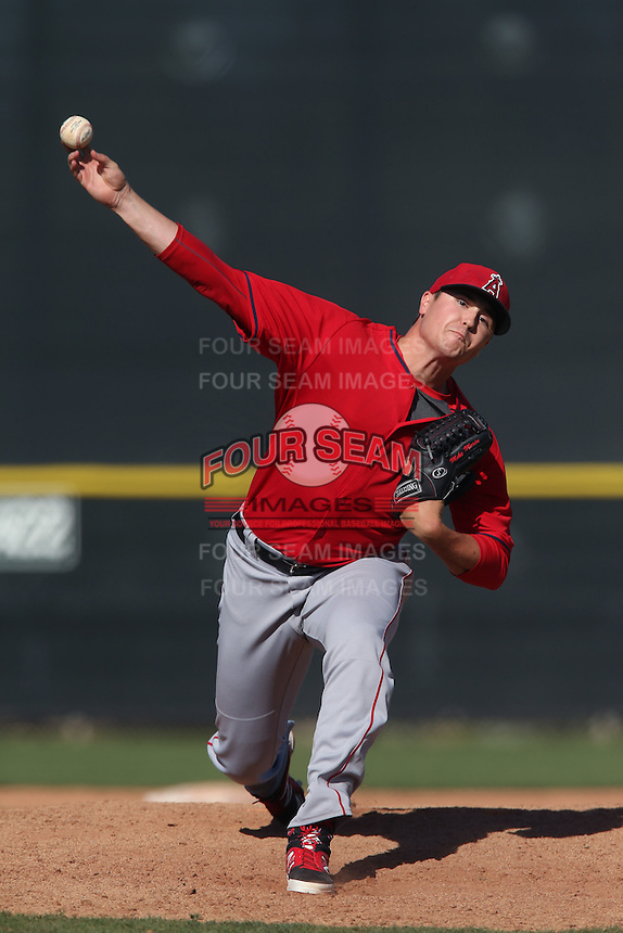 Michael Morin #88 of the Los Angeles Angels pitches during a Minor League Spring Training Game against the Oakland Athletics at the Los Angeles Angels Spring Training Complex on March 17, 2014 in Tempe, Arizona. (Larry Goren/Four Seam Images)