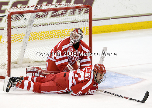 Matt Gilroy (Boston University - 97), Kieran Millan (Boston University - 31) - The Boston University Terriers defeated the Boston College Eagles 3-1 at Kelley Rink in Conte Forum in Chestnut Hill, Massachusetts.