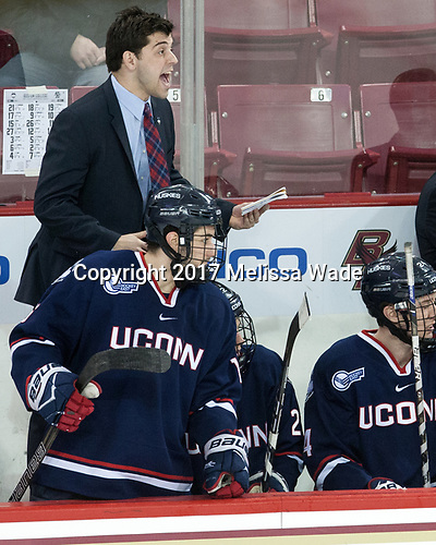 Joe Pereira (UConn - Assistant Coach), Karl El-Mir (UConn - 16) - The Boston College Eagles defeated the visiting UConn Huskies 2-1 on Tuesday, January 24, 2017, at Kelley Rink in Conte Forum in Chestnut Hill, Massachusetts.