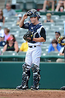 Trenton Thunder catcher Jeff Farnham #41 during a game against the Reading Fightin Phils on July 8, 2013 at Arm & Hammer Park in Trenton, New Jersey.  Trenton defeated Reading 10-6.  (Mike Janes/Four Seam Images)
