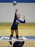 Marymount's Bri Fitzpatrick serves during a college volleyball match at Washington &amp; Lee University Lexington, Vir., on Saturday, Oct. 5, 2013.<br /> Photo by Cathleen Allison