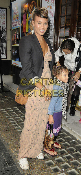 Javine Hylton & her daughter Angel Harvey.The 'Nickelodeon's Dora the Explorer LIVE! Search for the City of Lost Toys' press performance, Apollo Theatre, Shaftesbury Avenue, London, England..August 29th, 2012.full length black jean denim jacket maxi dress black blazer beige blue jacket mother mom mum child daughter kid family .CAP/CAN.©Can Nguyen/Capital Pictures.