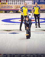 Glasgow. SCOTLAND. Scotland &quot;Skip&quot;, Eve MUIRHEAD, watches her stone's progress, during the  Le Gruy&egrave;re European Curling Championships. 2016 Venue, Braehead  Scotland<br /> Sunday  20/11/2016<br /> <br /> [Mandatory Credit; Peter Spurrier/Intersport-images]