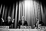 From left, Republican challenger Scott Rigell,  independent candidate Kenny Golden, and U.S. Rep. Glenn Nye, D-Va., participate in the 2nd Congressional District candidates forum at Princess Anne High School in Virginia Beach, Va., on Aug. 19, 2010.