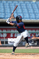 Cobie Vance (22) of Pine Forest High School in Fayetteville, North Carolina playing for the Cleveland Indians scout team during the East Coast Pro Showcase on August 1, 2014 at NBT Bank Stadium in Syracuse, New York.  (Mike Janes/Four Seam Images)