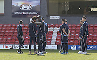 Adebayo Akinfenwa of Wycombe Wanderers makes an instagram video ahead of the Sky Bet League 2 match between Grimsby Town and Wycombe Wanderers at Blundell Park, Cleethorpes, England on 4 March 2017. Photo by Andy Rowland / PRiME Media Images.