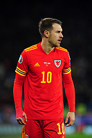 Aaron Ramsey of Wales during the UEFA Euro 2020 Group E Qualifier match between Wales and Hungary at the Cardiff City Stadium in Cardiff, Wales, UK. Tuesday 19th November 2019