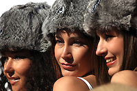 Participants of the finest Russian girl living in Switzerland posing in St. Moritz during the White Turf Event