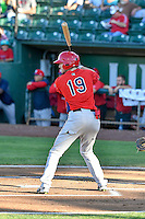 Nick Flair (19) of the Orem Owlz at bat against the Ogden Raptors in Pioneer League action at Lindquist Field on September 9, 2016 in Ogden, Utah. This was Game 1 of the Southern Division playoff. Orem defeated Ogden 6-5. (Stephen Smith/Four Seam Images)