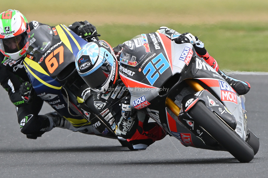 October 27, 2018: Marcel Schrotter (GER) on the No.23 KALEX from Dynavolt Intact Gp during the Moto2 practice session three at the 2018 MotoGP of Australia at Phillip Island Grand Prix Circuit, Victoria, Australia. Photo Sydney Low