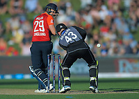England's Dawid Malan looks back as the ball beats New Zealand's Tim Seifert during the 4th Twenty20 International cricket match between NZ Black Caps and England at McLean Park in Napier, New Zealand on Friday, 8 November 2019. Photo: Dave Lintott / lintottphoto.co.nz