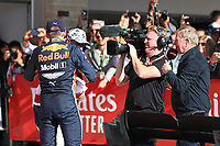 3rd November 2019; Circuit of the Americas, Austin, Texas, United States of America; Formula 1 United States Grand Prix, race day; Aston Martin Red Bull Racing, Max Verstappen in parc ferme - Editorial Use