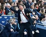 Louis van Gaal manager of Manchester United reacts to a decision against his team during the Barclays Premier League match at The Etihad Stadium. Photo credit should read: Simon Bellis/Sportimage