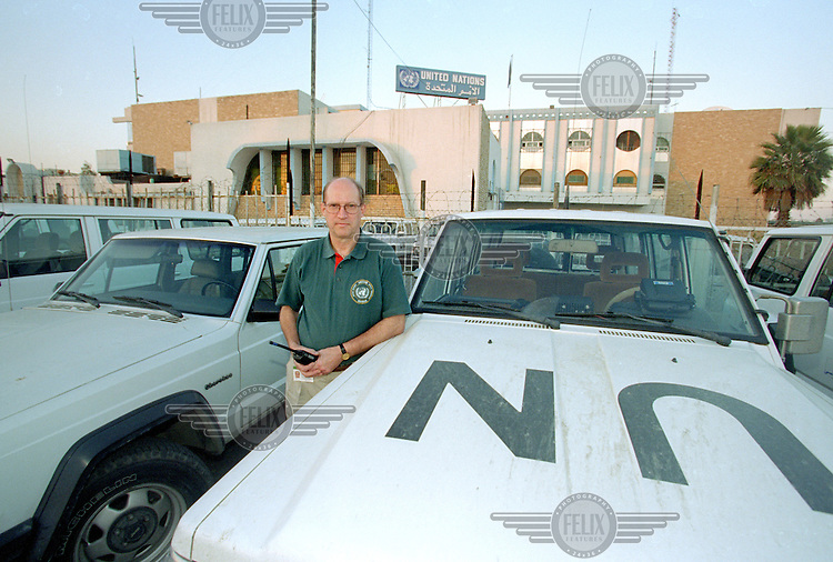 Nils Carlstrom, Director of Baghdad Monitoring and Verification Centre by the UN compound in Baghdad. <br /> UN weapons inspectors in February 1998 look for WMDs (weapons of mass destruction), as the population in Iraq prepared for an armed conflict.   The UNSCOM weapons inspectors left Iraq later that year.<br /> <br /> <br /> <br /> ©Fredrik Naumann/Felix Features