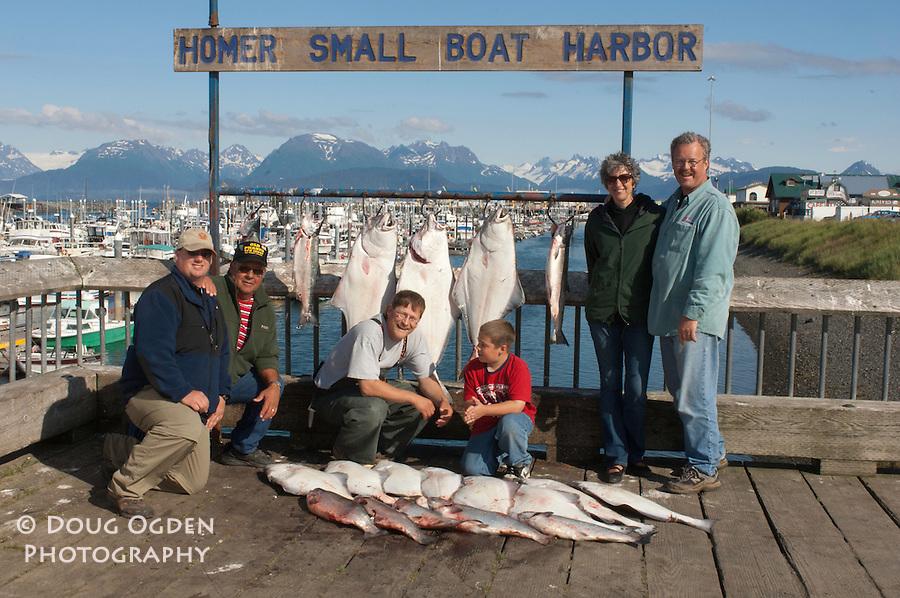 A harvest of Halibut and Salmon, Homer, Alaska