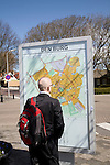 Man looking at map, Den Burg, Texel, Netherlands,