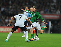 29.05.2013 London, England. Republic of Ireland's Aiden McGeady attempts a shot during the International Friendly between England and Republic of Ireland from Wembley Stadium.