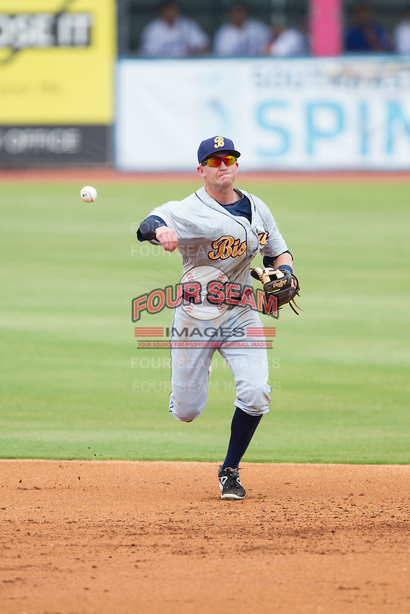 Montgomery Biscuits shortstop Jake Hager (2) makes a throw to first base against the Chattanooga Lookouts at AT&T Field on July 23, 2014 in Chattanooga, Tennessee.  The Lookouts defeated the Biscuits 6-5. (Brian Westerholt/Four Seam Images)