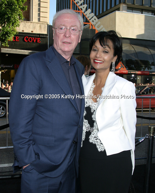 Michael Caine and wife Shakira.Premiere of Batman Begins.Grauman's Chinese Theater.Los Angeles, CA.June 6, 2005.©2005 Kathy Hutchins / Hutchins Photo