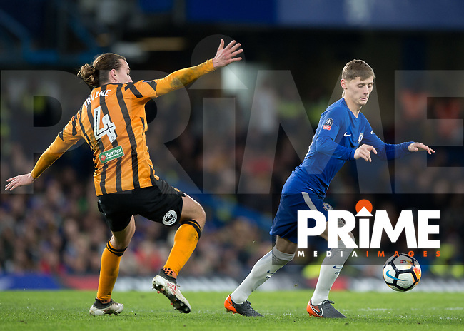 Kyle Scott of Chelsea gets past Jackson Irvine of Hull City during the FA Cup 5th round match between Chelsea and Hull City at Stamford Bridge, London, England on 16 February 2018. Photo by Vince  Mignott / PRiME Media Images.