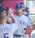 Yu Darvish (Rangers),<br /> APRIL 13, 2017 - MLB :<br /> Texas Rangers starting pitcher Yu Darvish high-fives teammate Mike Napoli in the dugout after the bottom of the fifth inning during the Major League Baseball game against the Los Angeles Angels of Anaheim at Angel Stadium of Anaheim in Anaheim, California, United States. (Photo by AFLO)