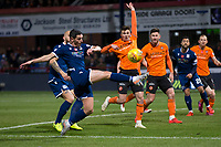 8th November 2019; Dens Park, Dundee, Scotland; Scottish Championship Football, Dundee Football Club versus Dundee United; Graham Dorrans of Dundee challenges for the ball with Jamie Robson of Dundee United  - Editorial Use