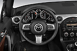 Steering wheel view of a 2010 Mazda Miata MX5