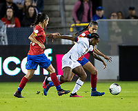 HOUSTON, TX - FEBRUARY 03: Crystal Dunn #19 of the USA advances the ball during a game between Costa Rica and USWNT at BBVA Stadium on February 03, 2020 in Houston, Texas.
