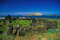 Hawaiian Heiau located along windward coast near Makapuu point, Oahu.