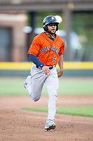 Jason Martin (6) of the Buies Creek Astros hustles towards third base against the Winston-Salem Dash at BB&T Ballpark on April 15, 2017 in Winston-Salem, North Carolina.  The Astros defeated the Dash 13-6.  (Brian Westerholt/Four Seam Images)